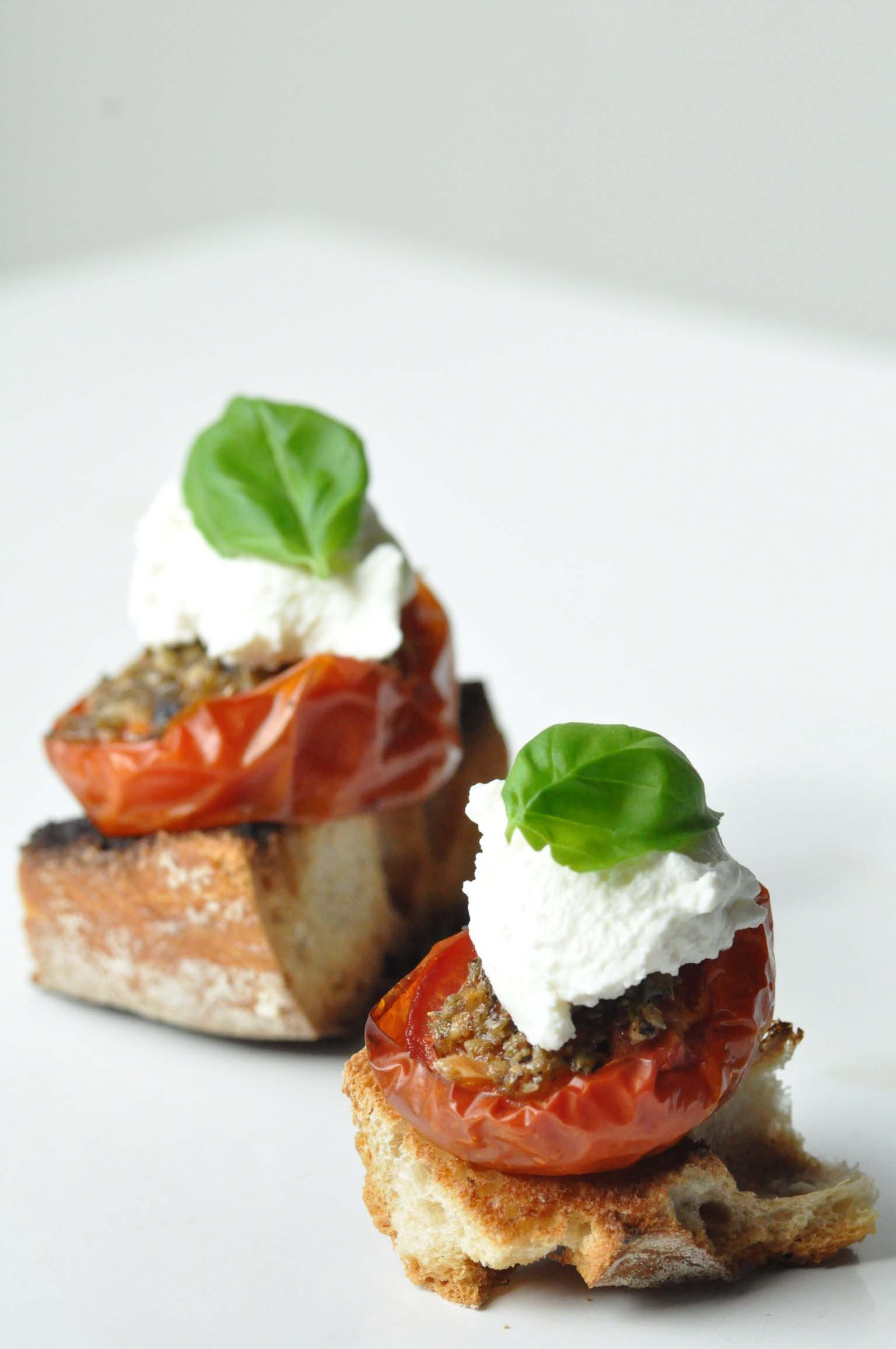 baked tomatoes and ricotta