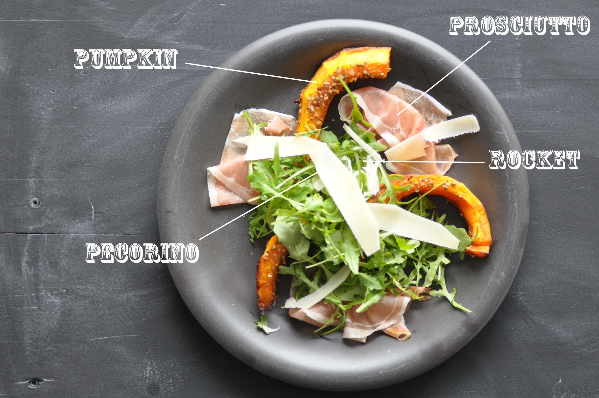 pumpkin, rocket, prosciutto, pecorino salad_bearbeitet